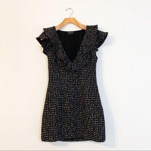 MAJORELLE Black Marlow Tweed Ruffle Mini Dress S
